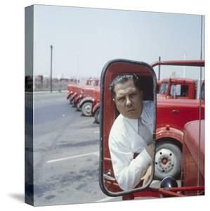 Union President Jimmy Hoffa's Image Reflected in Rear View Mirror in Red Truck by Hank Walker