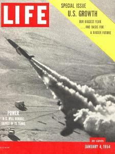 US Growth, Jet Flying with Trail of Smoke, January 4, 1954 by Hank Walker