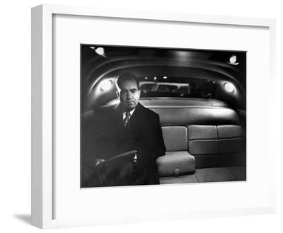 VP Richard Nixon Sitting Solemnly in Back Seat of Dimly Lit Limousine