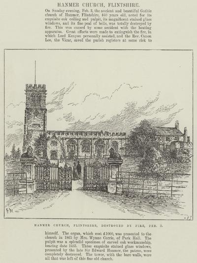 Hanmer Church, Flintshire, Destroyed by Fire, 3 February-Frank Watkins-Giclee Print