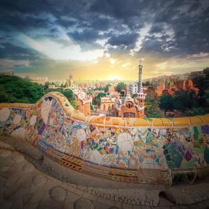 The Famous Park Guell in Barcelona, Spain by Hanna Slavinska