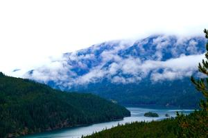 Foggy Afternoon In The Pacific Northwest Looking At Diablo Lake In North Cascades National Park, Wa by Hannah Dewey