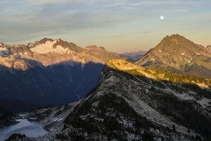Moonrise And Sunset Over The North Cascade Mountains In Washington During Summer by Hannah Dewey