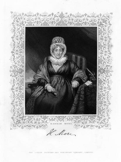 Hannah More, English Religious Writer and Philanthropist, 19th Century-William Finden-Giclee Print