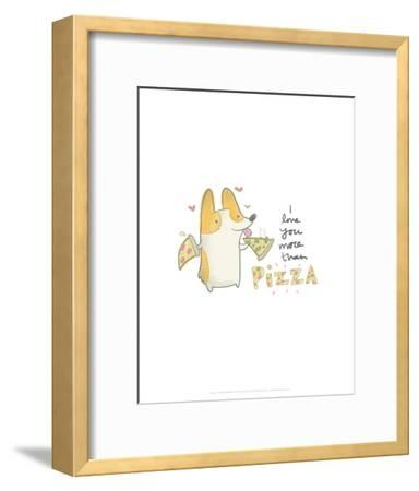 I love you more than pizza dog - Hannah Stephey Cartoon Dog Print