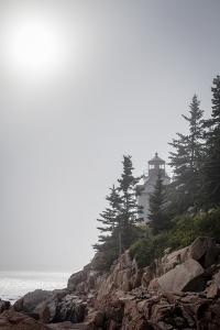 A Foggy Summer Day at Bass Harbor Headlight in Acadia National Park in Maine by Hannele Lahti