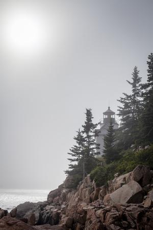 A Foggy Summer Day at Bass Harbor Headlight in Acadia National Park in Maine