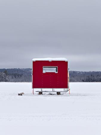 A Red Ice Fishing Shack Is Positioned on a Frozen Lake Wesserunsett Near East Madison, Maine