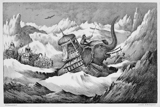 Hannibal and his war elephants crossing the Alps, 218 BC (19th century)-Unknown-Giclee Print