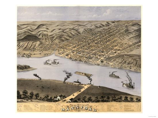 Hannibal, Missouri - Panoramic Map-Lantern Press-Art Print