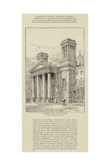 Hanover Chapel, Regent Street-Henry William Brewer-Giclee Print