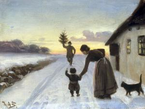 The Arrival of the Christmas Tree by Hans Anderson Brendekilde