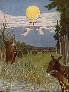 Der Flug nach der Sternenwiese, Illustration, 1928 by Hans Baluschek