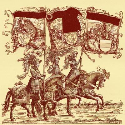 Flagbearers on horseback
