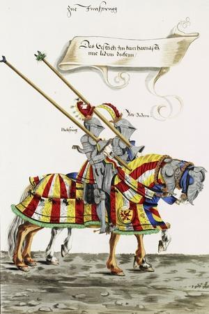 Two Knights in Jousting Armour (Gestech) and Armed with Lances, Illustration from a Facsimile…