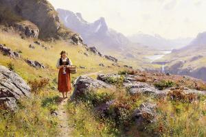 Knitting in a Norwegian Landscape by Hans Dahl
