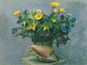 Conch & Flowers, 1989 by Hans Feibusch