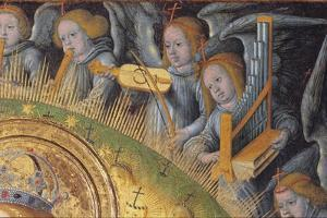 Detail of the Heavenly Choir, from Madonna and Child by Hans Fries