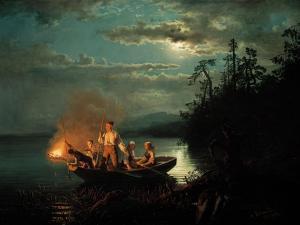 Night Spear Fishing on the Kroderen Lake by Hans Gude