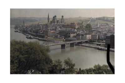 A View of the Town of Passau Along the Danube River by Hans Hildenbrand