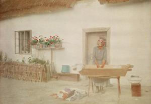 A Woman Washes Clothing in a Standing Tub Outside of a Cottage by Hans Hildenbrand
