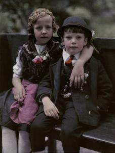 Austrian Children Pose in their Traditional Attire by Hans Hildenbrand