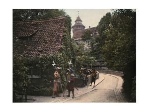 Men Stand on the Driveway to Nuremberg Castle and Hold Halberds by Hans Hildenbrand