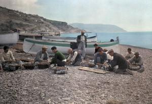 On the Beach of Bordighera, Fishermen Gather Supplies for Work by Hans Hildenbrand