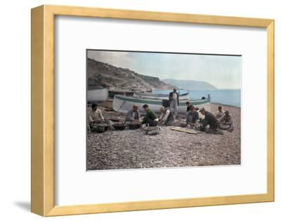On the Beach of Bordighera, Fishermen Gather Supplies for Work