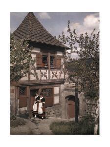 People Wear Salzieder Costumes Outside of Schwabisch Hall by Hans Hildenbrand