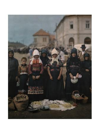 Portrait of Peasant Women and Girls at the Market in Mezokovesd by Hans Hildenbrand
