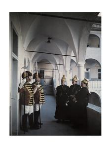 Town Guards and Citizens Stand in Front of Saint Veit's City Hall by Hans Hildenbrand