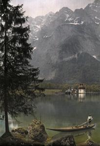 View of St. Bartholoma, a Lodge and Chapel, on the Konigssee Lake by Hans Hildenbrand