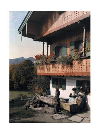 Women Sit Outside their Tegernsee Farmhouse by Hans Hildenbrand