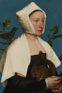 A Lady with a Squirrel and a Starling (Anne Lovell), C. 1527 by Hans Holbein the Younger