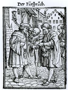Death and the Barrister, from The Dance of Death, c.1538 by Hans Holbein the Younger
