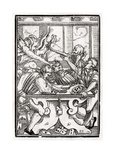 Death and the Devil Come for the Card Player, Engraved by Georg Scharffenberg, from 'Der Todten… by Hans Holbein the Younger