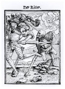 "Death and the Knight from ""The Dance of Death"" by Hans Holbein the Younger"