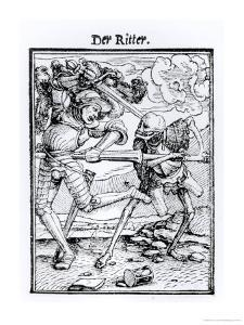 """Death and the Knight from """"The Dance of Death"""" by Hans Holbein the Younger"""