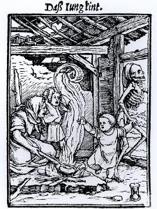 """Death Taking a Child from the """"Dance of Death"""" Series by Hans Holbein the Younger"""