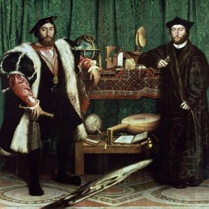 """The Ambassadors """"With Anamorphosis In the Lower Part of the Painting"""" 1533, Germany School by Hans Holbein the Younger"""