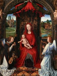 Madonna and Child, Angel with Violin in His Hand; Landscape with Farmhouse and Castle by Hans Memling