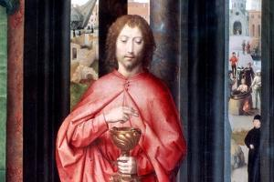 Mystic Marriage of St. Catherine and Other Saints, Detail, C1453-1494 by Hans Memling