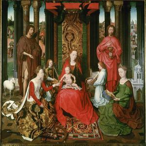 St. Mary with the Child and the Saints John the Baptist, John the Evangelist, Catherine, Barbara by Hans Memling