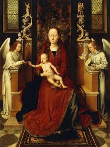The Virgin and Child Enthroned with Two Angels by Hans Memling