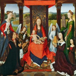 The Virgin and Child with Saints and Donors, a Panel from 'The Donne Triptych' C.1478 (Oil on Oak) by Hans Memling