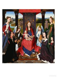 Triptych of John Donne, Central Panel: St. Mary and Child Surrounded by Saints, Angels and Donors by Hans Memling