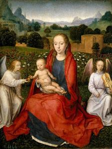 Virgin And Child And Two Angels by Hans Memling