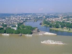 Aerial View Over the Junction Between the Rhine River and the Mosel River at Koblenz, Palatinate by Hans Peter Merten