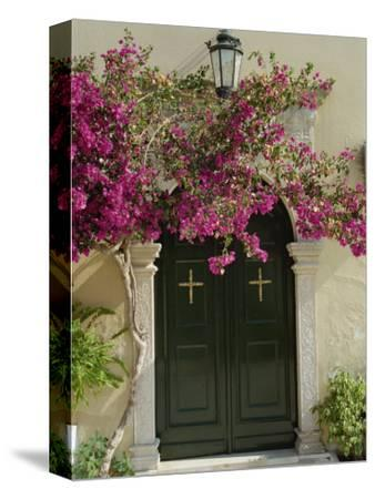 Doorway of Paleokastritsa Monastery, Corfu, Ionian Islands, Greek Islands, Greece, Europe
